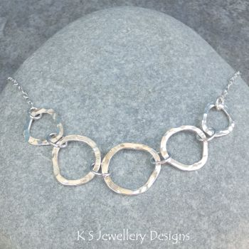 Wonky Circles Fine Silver & Sterling Silver Necklace - Dappled & Shiny