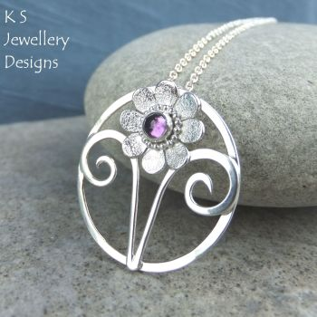 Amethyst Daisy Flower and Swirls Sterling Silver Circle Pendant