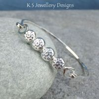 Sun Textured Pebbles Sterling Silver Bangle