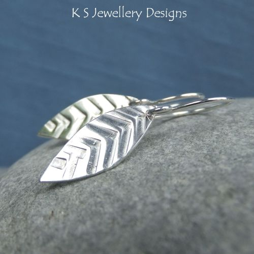 Textured Long Leaf Sterling Silver Earrings
