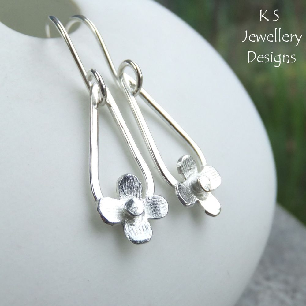 Rustic Blossom Sterling Silver Drop Earrings