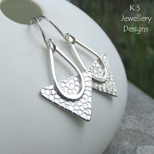 Textured Triangle Sterling Silver Drop Earrings