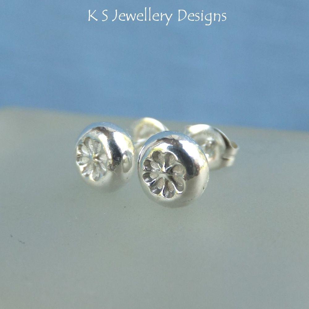 Flower Textured Pebbles - Sterling Silver Stud Earrings