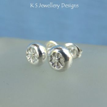 Flower Textured Pebbles - Sterling Silver Stud Earrings