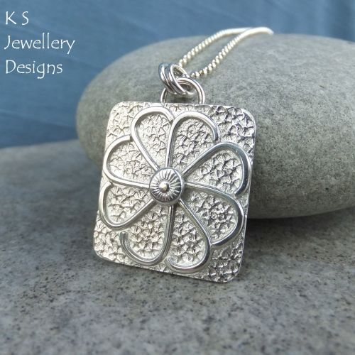 Daisy Textured Square Sterling Silver Pendant