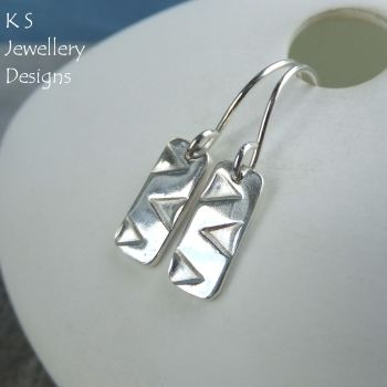 Zigzag Textured Sterling Silver Bar Earrings