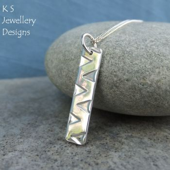 Zigzag Textured Sterling Silver Bar Pendant