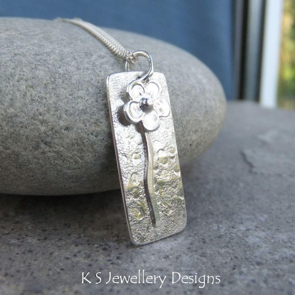 Solo Flower Rectangular Sterling Silver Pendant