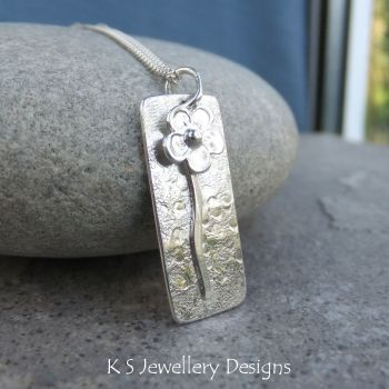 Solo Flower Rectangular Sterling Silver Pendant