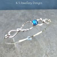 Abalone Shell Twisted Sterling Silver Wire Bangle