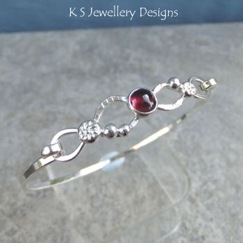 Garnet Twisted Sterling Silver Wire Bangle