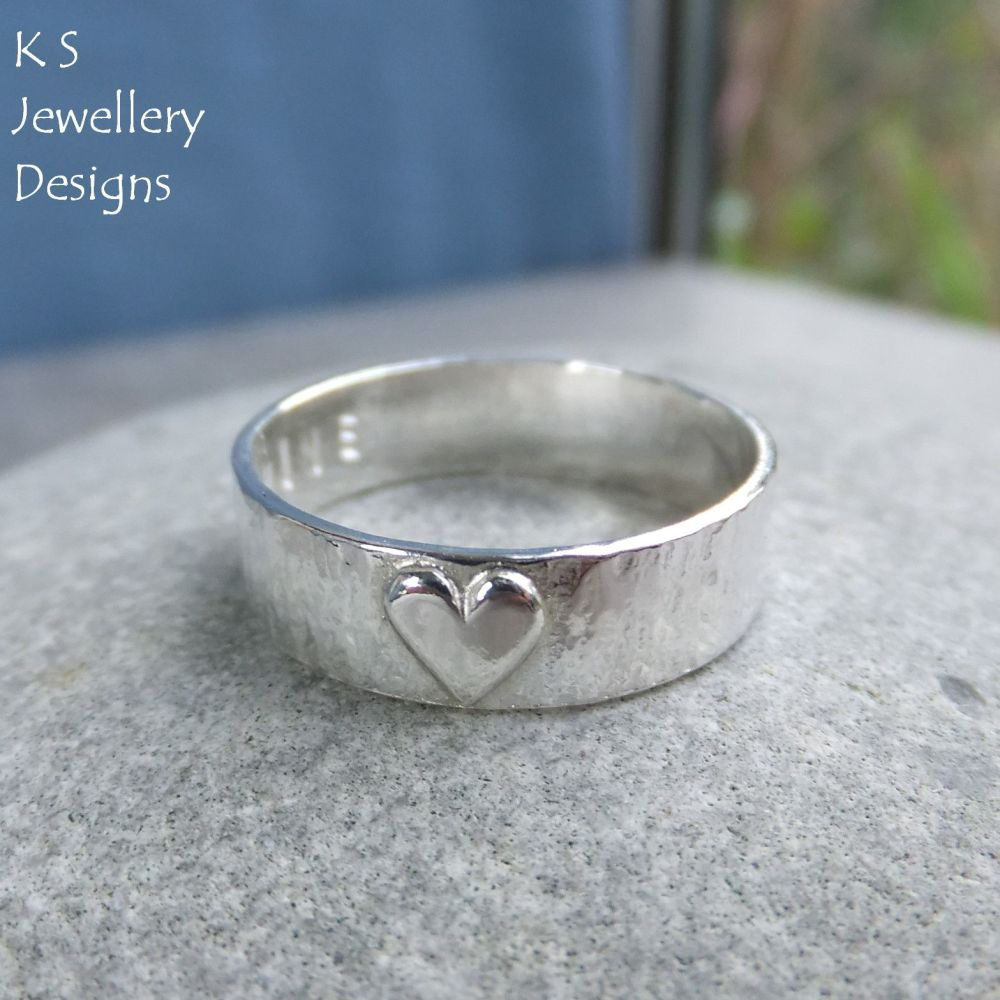 Little Heart - Sterling Silver Bark Textured Ring - Personalised Stamped Name Love Inscription (made to order)