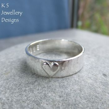 Little Heart - Sterling Silver Bark Textured Ring - Personalised Stamped Name Love Inscription