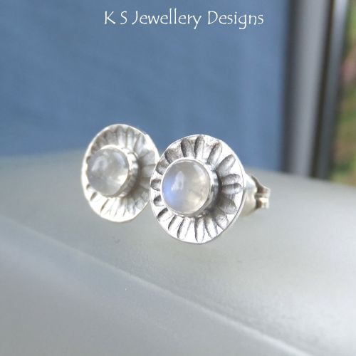 Rainbow Moonstone Daisies - Sterling Silver Stud Earrings - Daisy Flower Di