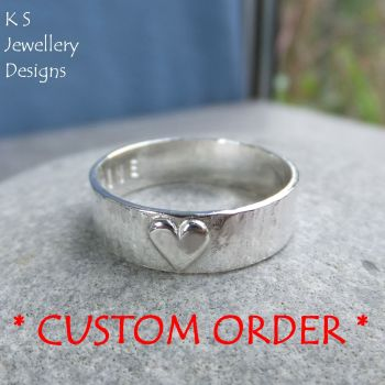 * CUSTOM ORDER FOR DAVID - Little Hearts - Sterling Silver Bark Textured Ring - Personalised Stamped Name Love Inscription