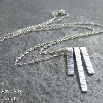 Bark Textured Bars Sterling Silver Necklace