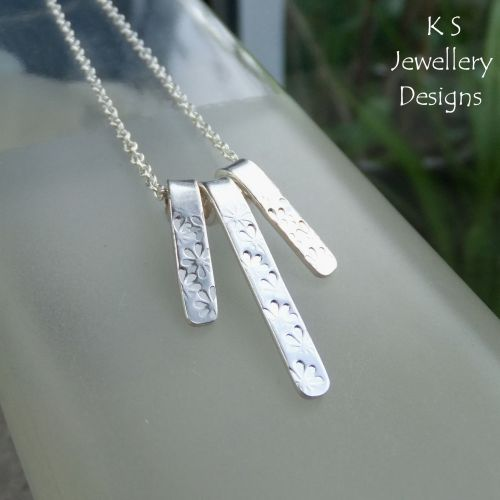 Daisy Textured Bars Sterling Silver Necklace
