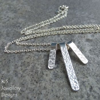 Flower Textured Bars Sterling Silver Necklace