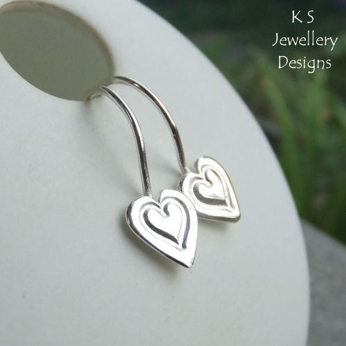 Little Heart Hoops - Sterling Silver Earrings - Stamped Hearts