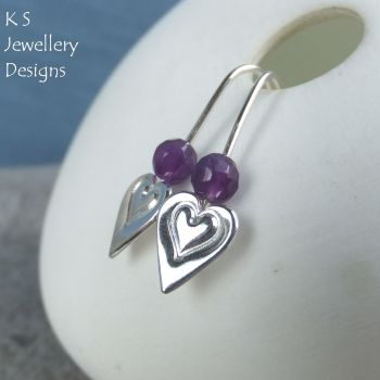 Amethyst Heart Drops - Sterling Silver Earrings - Stamped Hearts