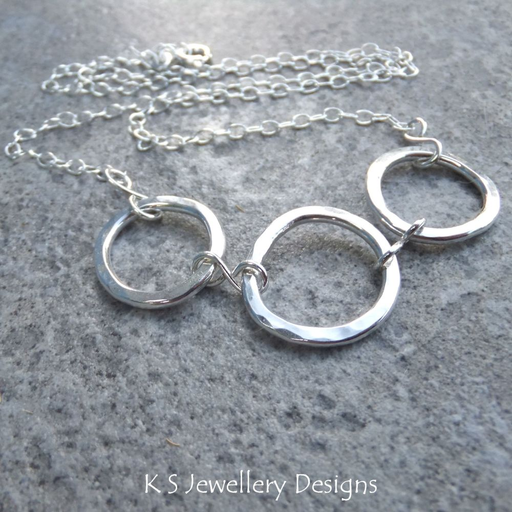 Wonky Circles Sterling Silver Necklace - Dappled & Shiny