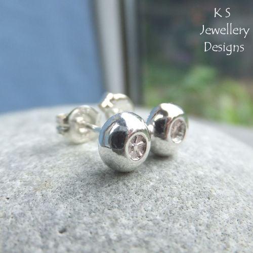 Little Flowers Textured Pebbles - Sterling Silver Stud Earrings