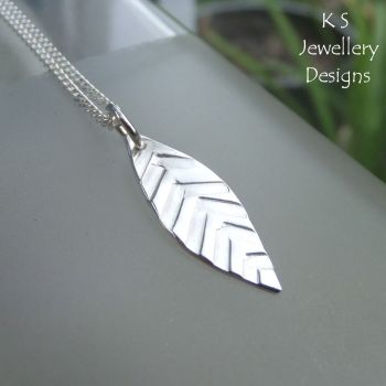 Textured Little Leaf Sterling Silver Pendant