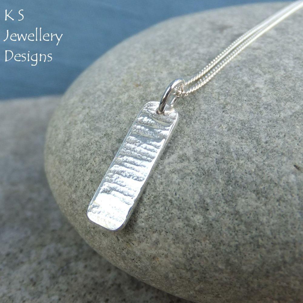 Bark Textured Sterling Silver Bar Pendant