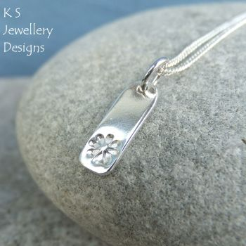 Daisy Flower Textured Sterling Silver Bar Pendant