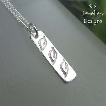 Leaf Trio Textured Sterling Silver Bar Pendant