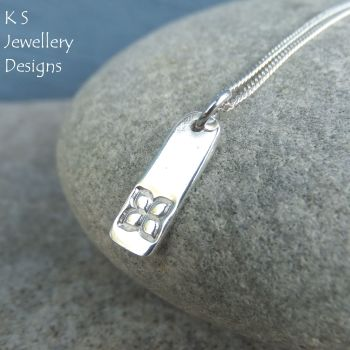 Four Petal Flower Textured Sterling Silver Bar Pendant