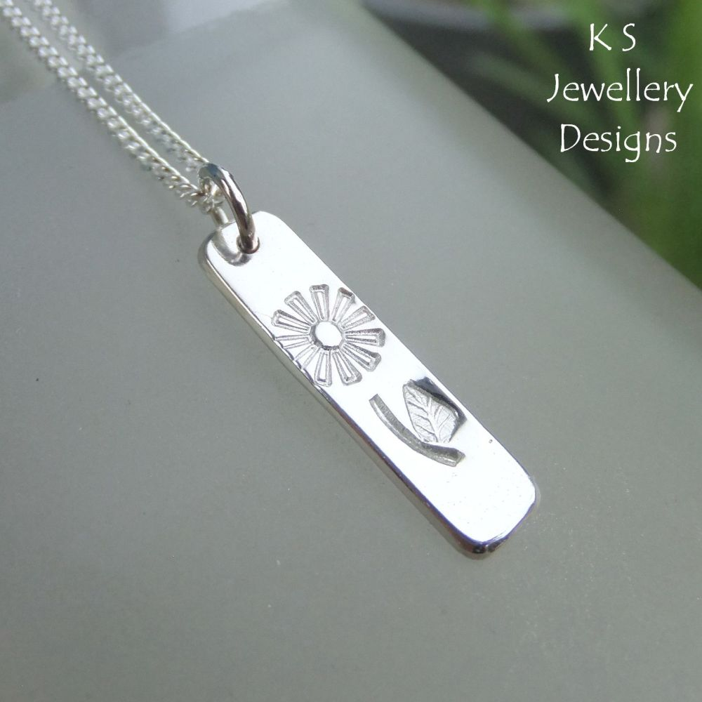 Flower and Leaf Textured Sterling Silver Bar Pendant