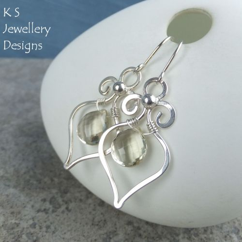 Scapolite Swirly Drops - Sterling Silver Gemstone Earrings