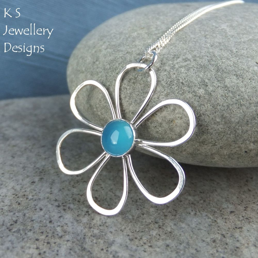 Blue Chalcedony Daisy - Sterling Silver Flower Pendant