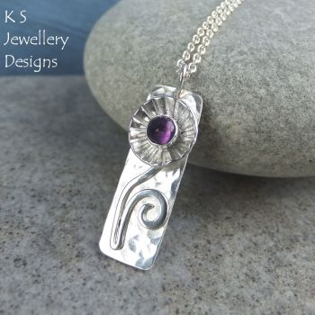Amethyst Daisy Flower Cup Sterling Silver Rectangular Pendant