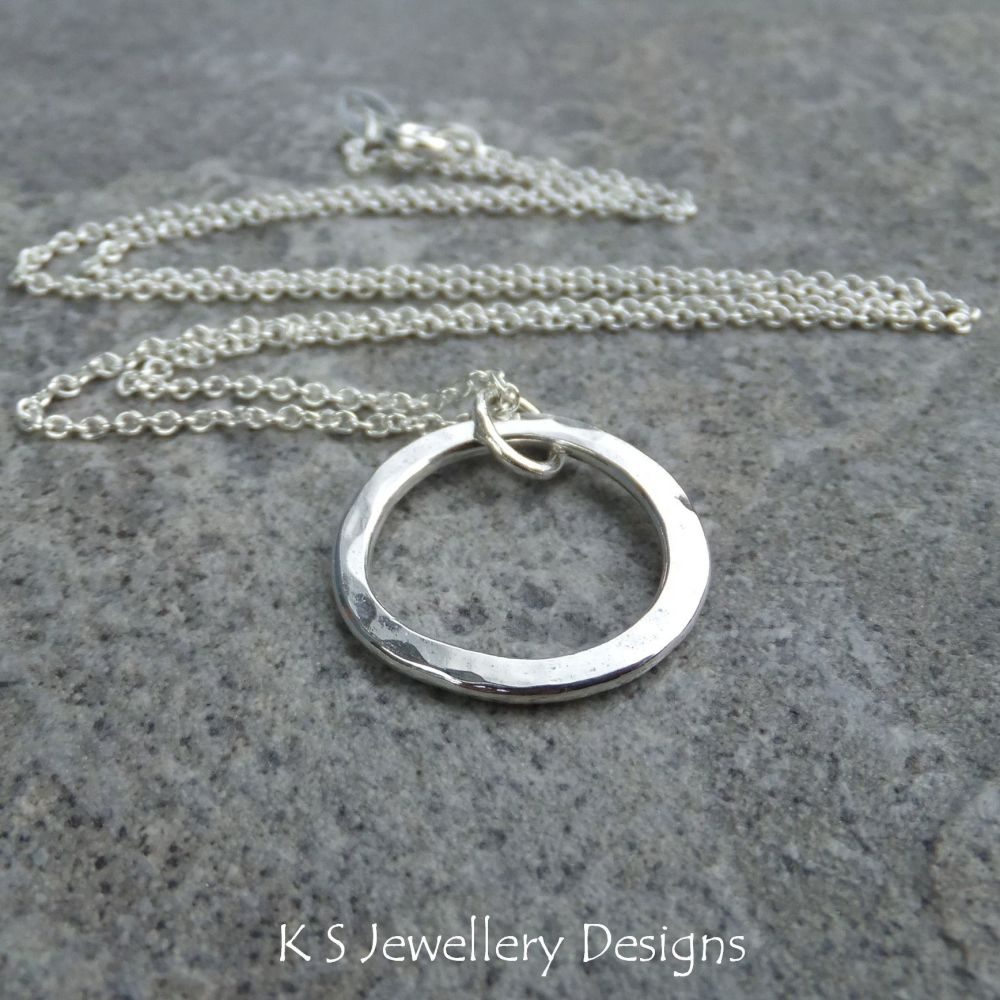 Wonky Circle Sterling Silver Pendant - Dappled & Shiny