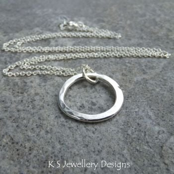 Wonky Circle Sterling Silver Pendant - Dappled & Shiny (made to order)