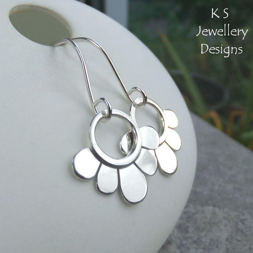 Swinging Flower Drops - SHINY FLOWERS - Sterling Silver Dangly Earrings
