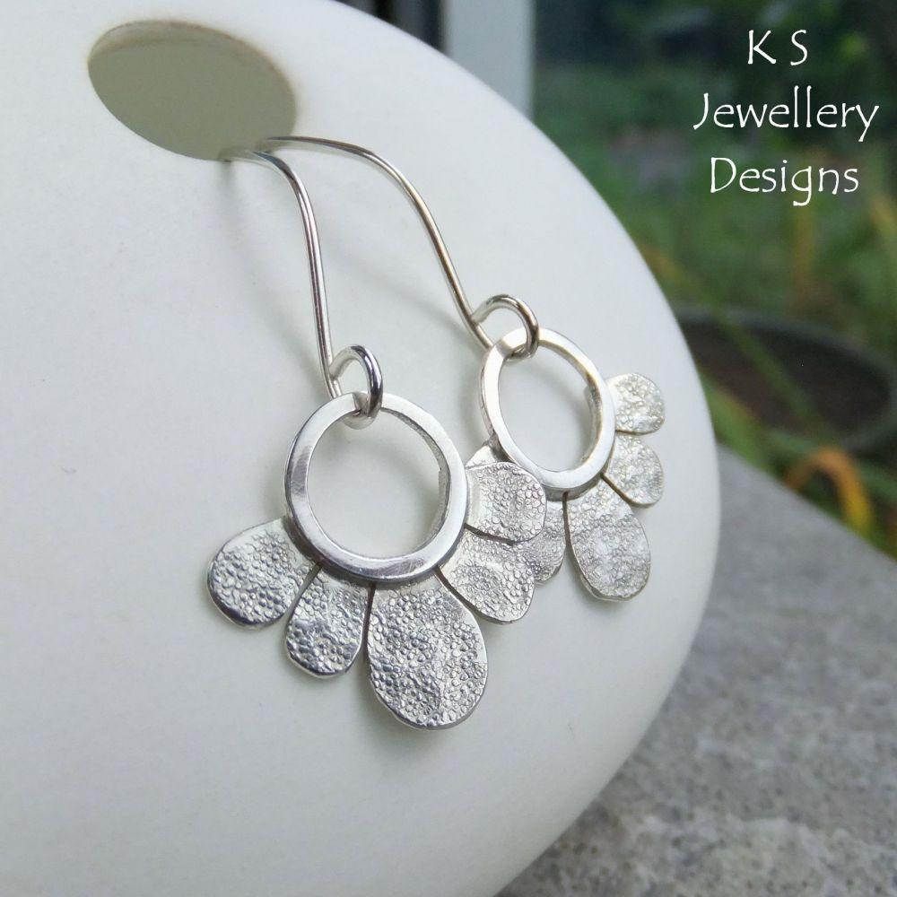 Swinging Flower Drops - TEXTURED FLOWERS - Sterling Silver Dangly Earrings