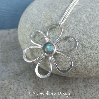 Labradorite Daisy - Sterling Silver Flower Pendant