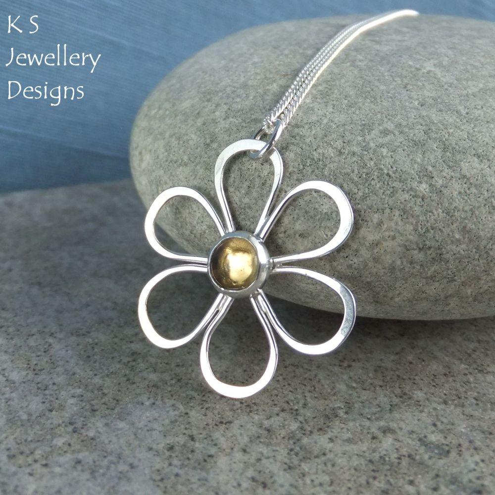 Citrine Daisy - Sterling Silver Flower Pendant