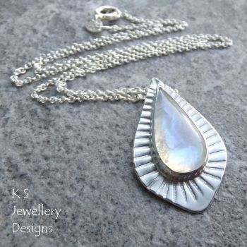 Rainbow Moonstone Stripe Textured Sterling Silver Drop Pendant