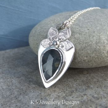 Midnight Blue Sapphire Textured Petal Adorned Sterling Silver Pendant