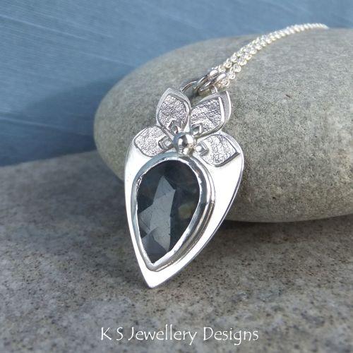 Midnight Blue Sapphire Textured Petal Adorned Sterling Silver Pendant