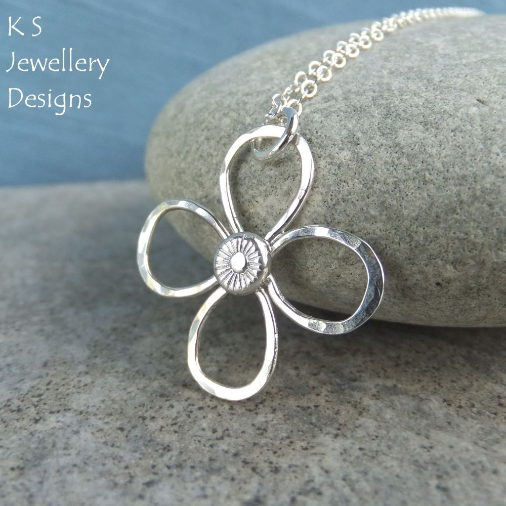 Dappled Flower Sterling Silver Pendant (4 petals)