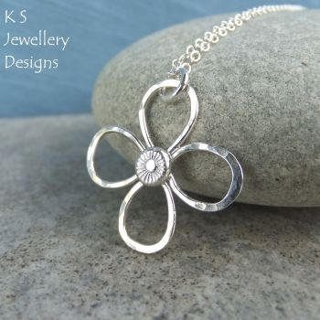 Dappled Flower Sterling Silver Pendant (4 petals)