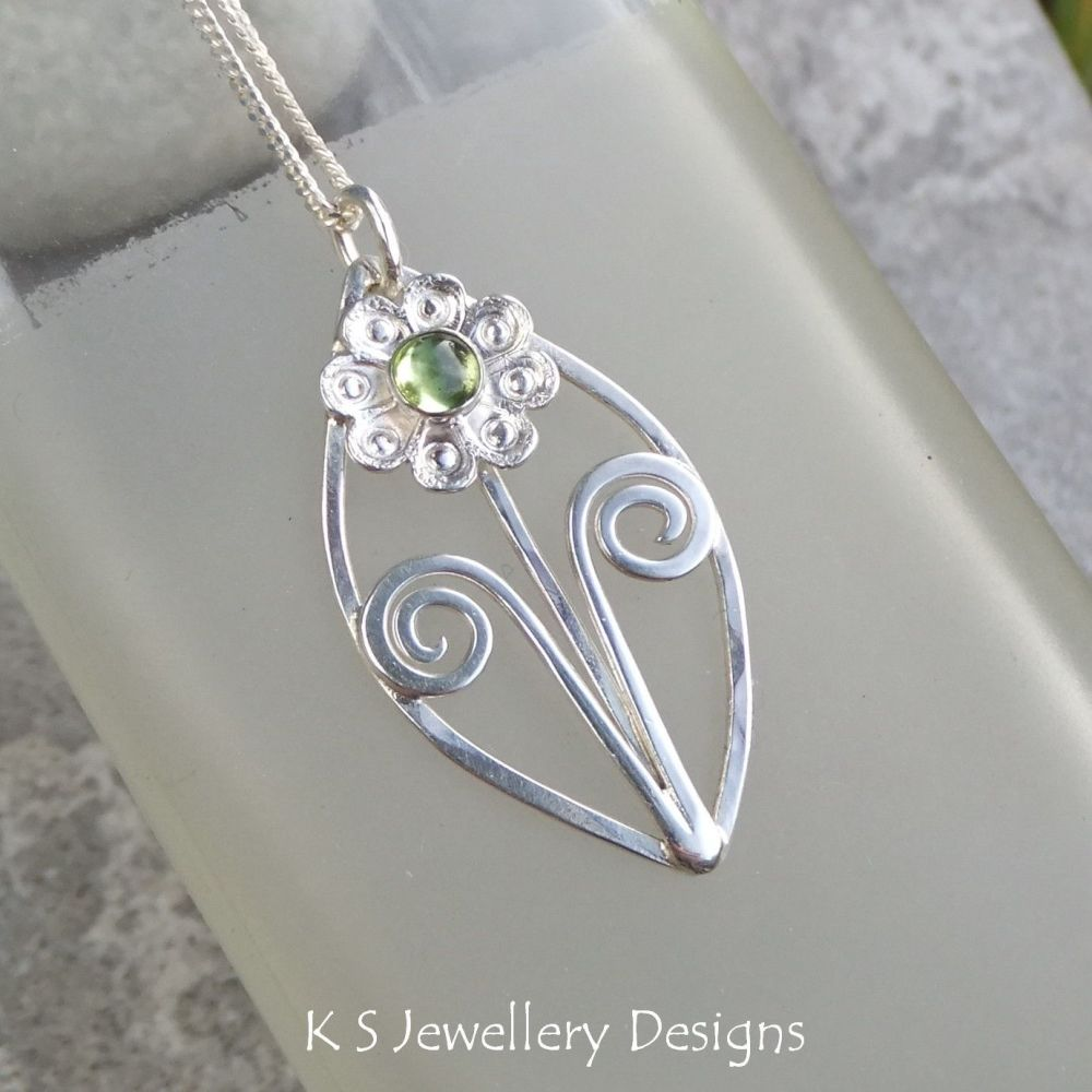 Peridot Flower and Swirls Sterling Silver Leaf Pendant