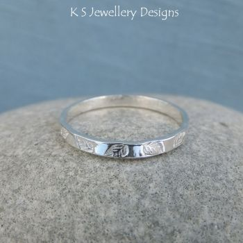 Fine Silver Textured Stacking 2mm Ring - LEAF