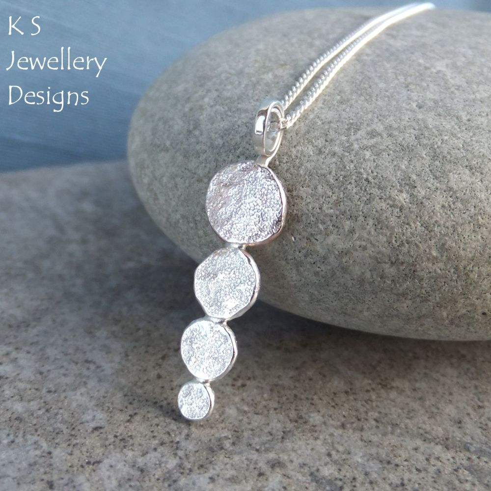 Stepping Stones - Sterling Silver Textured Pebbles Pendant
