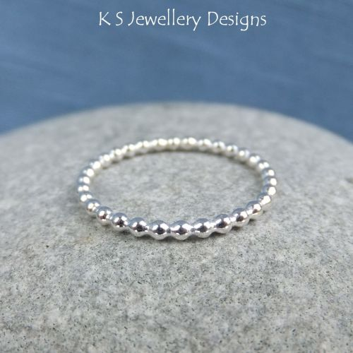 Sterling Silver 1.5mm Beaded Wire Stacking Ring